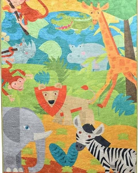 Chilai Dětský protiskluzový koberec Chilai Animals,100x160cm