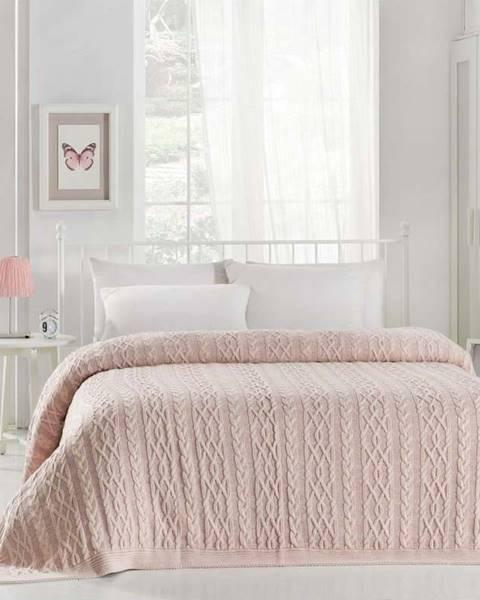 Homemania Decor Světle růžový přehoz přes postel Knit, 220 x 240 cm