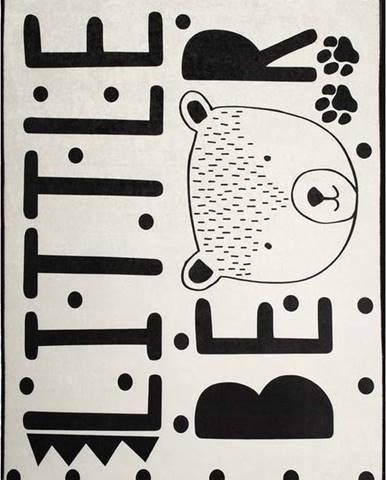 Černo-bílý dětský protiskluzový koberec Chilai Little Bear,140x190 cm