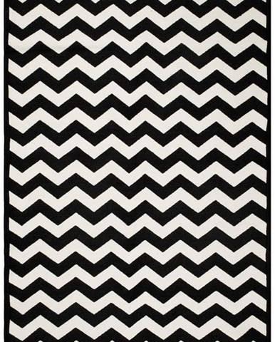 Černo-bílý oboustranný koberec Zig Zag 80x150 cm