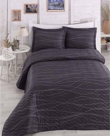Černý prošívaný lehký přehoz na dvoulůžko s povlaky na polštáře Verda Grey, 200x220cm