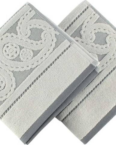 Sada 2 šedých bavlněných ručníků Hurrem, 50x90cm