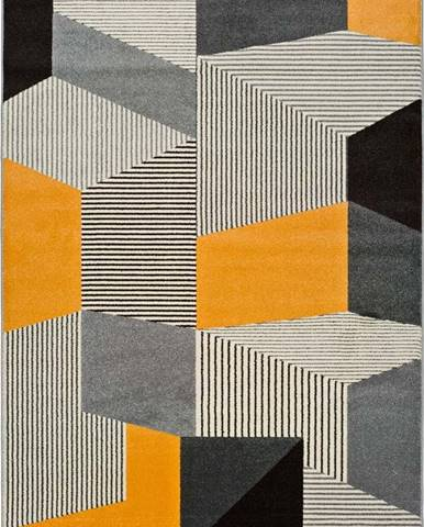 Šedo-oranžový koberec Universal Leo Grey, 140 x 200 cm