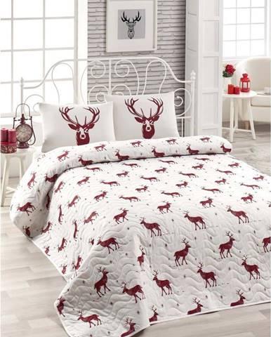 Set přehozu přes postel a povlaku na polštář s příměsí bavlny Geyik Claret Red, 160 x 220 cm