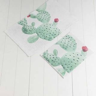 Sada 2 bílo-zelených koupelnových předložek Tropica Cactus II