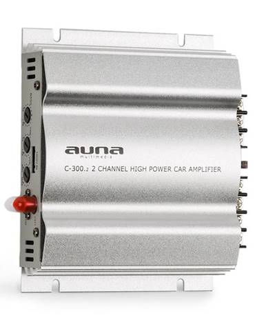 Auna C300.2, 2kanálový zesilovač, koncový zesilovač do auta, 800W PMPO, 200W RMS, stříbrný