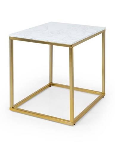Besoa White Pearl I, konferenční stolek, 50 x 50 x 50 cm (Š x V x H), mramor, zlatý/bílý