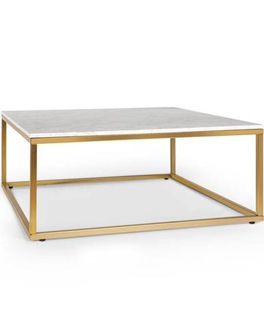 Besoa White Pearl II, konferenční stolek, 81,5 x 35 x 81,5 (Š x V x H), mramor, zlatý/bílý