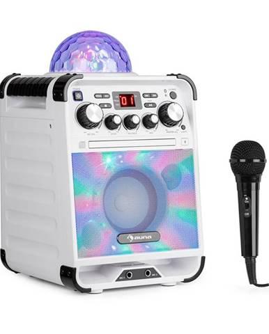 Auna Rockstar LED, karaoke systém, CD přehrávač, bluetooth, AUX, 2 x 6,3 mm, bílý
