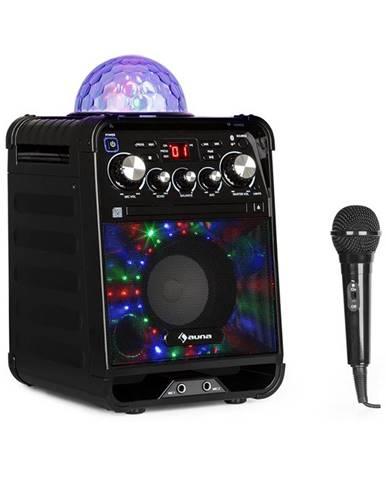 Auna Rockstar LED, karaoke systém, CD přehrávač, bluetooth, AUX, 2 x 6,3 mm, černý