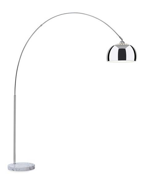 Besoa Besoa Nael, oblouková lampa, stříbrné stínidlo, mramorový podstavec, E27, síťový kabel: 2 m, stříbrný