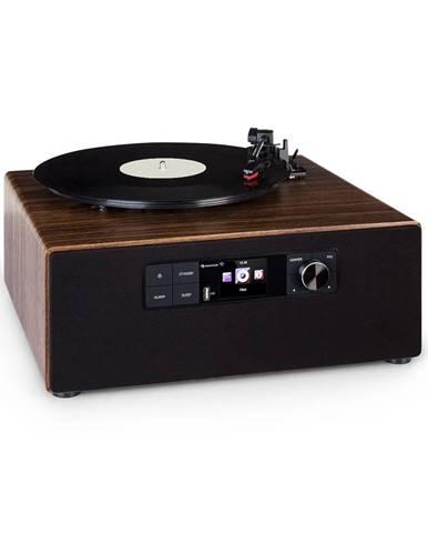 Auna Connect Vinyl Cube, gramofon, 40 W max., internet/DAB+/FM, USB, hnědý