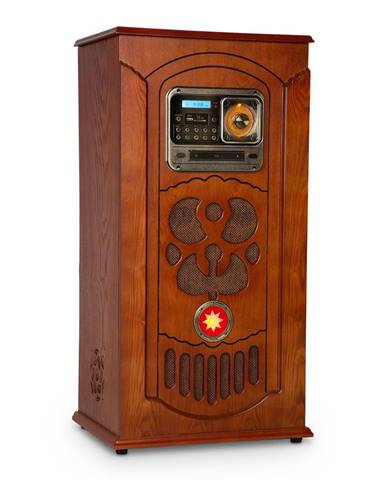 Auna Musicbox, jukebox, gramofon, CD přehrávač, BT, USB, SD, FM tuner, dřevo