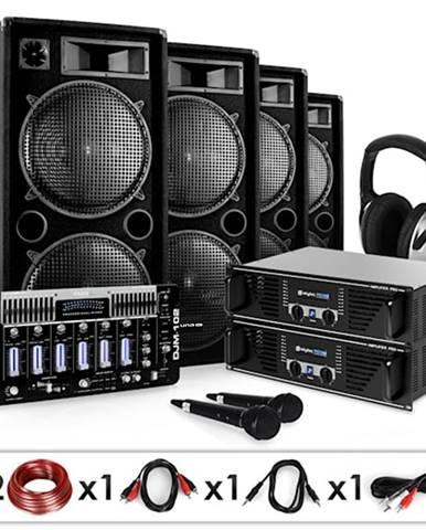 Electronic-Star Bass First Pro, DJ PA systém, 2 x zesilovač, 4 x reproduktor, mixážní pult, 4 x 500 W