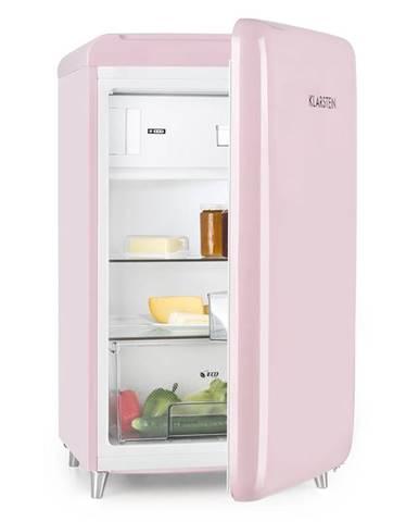 Klarstein PopArt Pink retro chladnička A ++, 108 l / 13 l mrazírenský prostor, růžová