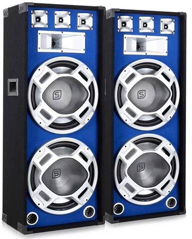 Skytronic Pár 38 cm PA reproduktorů, modrý světelný efekt, 2 x 1000 W
