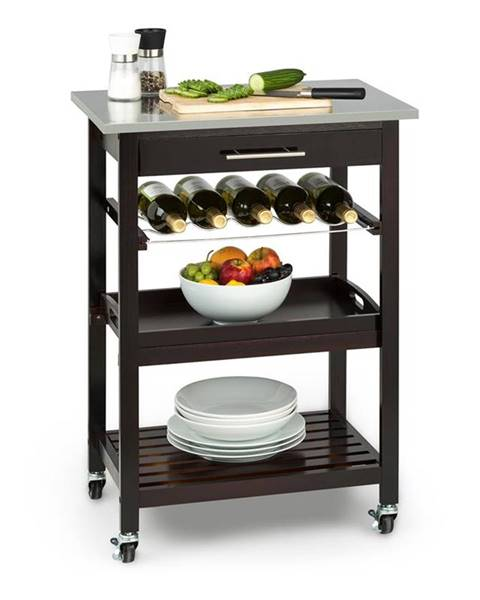 Klarstein Klarstein Vermont kuchyňský vozík, jídelní vozík, zásuvka, polička na víno, ušlechtilá ocel