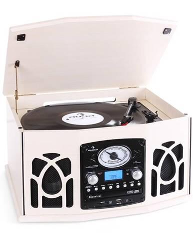Auna NR-620, stereo zařízení, gramofon, krémové, MP3 záznam
