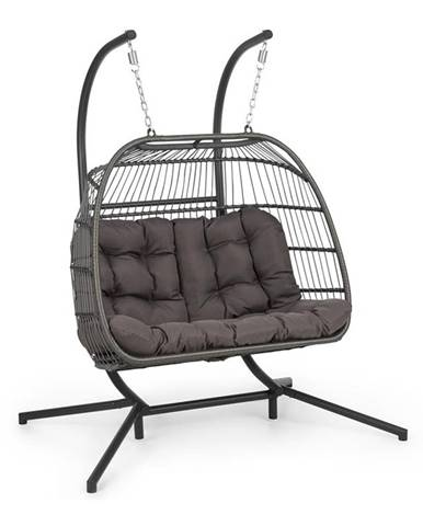 Blumfeldt Biarritz Double, závěsné houpací křeslo, dvoumístné, polštář na sezení, 240 kg, tmavošedé