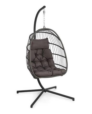 Blumfeldt Biarritz Double, závěsné houpací křeslo, polštář na sezení, 130 kg, tmavošedé