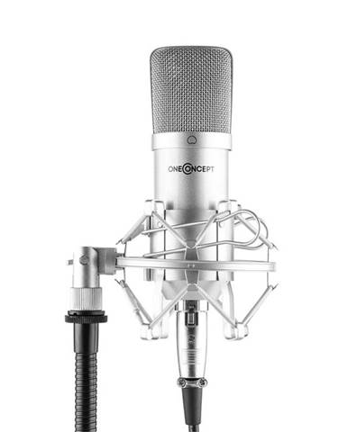 OneConcept MIC-700, studiový mikrofon, ø 34 mm, kardioidní, pavouk, ochrana proti větru, XLR, stříbrný