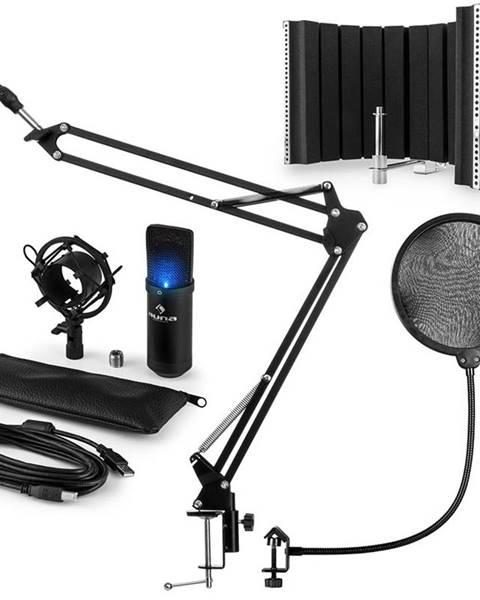 Auna Auna MIC-900B -LED, USB MIKROFONNÍ SADA V5, ČERNÁ, kondenzátorové mikrofony, POP FILTER, AKUSTICKÁ CLONA, mikrofonní rameno
