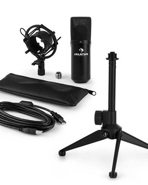 Auna Auna MIC-900B V1, USB mikrofonní sada, černý kondenzátorový mikrofon + stolní stativ