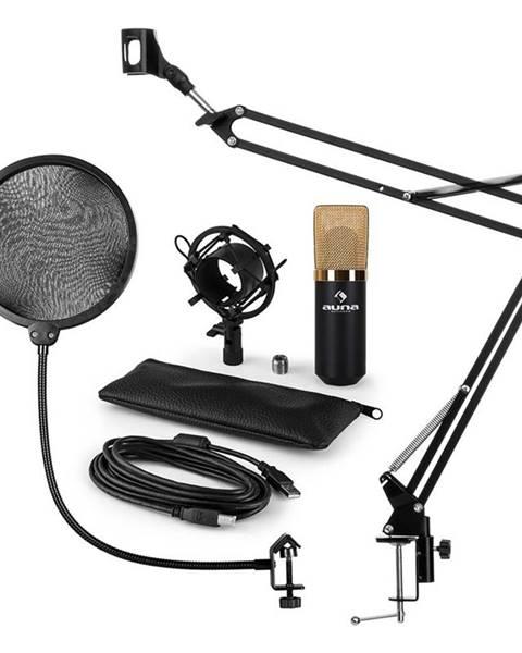 Auna Auna MIC-900BG, USB MIKROFONNÍ SADA V4, ZLATÁ, kondenzátorové mikrofony, POP FILTER, mikrofonní rameno