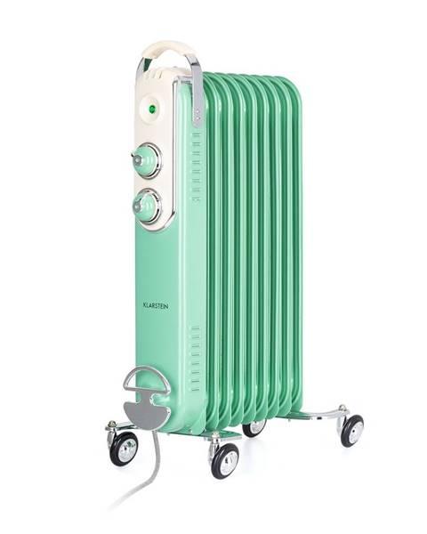 Klarstein Klarstein Thermaxx Retroheat, olejový radiátor, 2500 W, kolečka, zelený