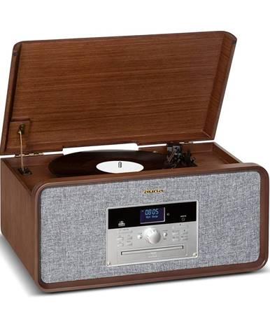 Auna Bella Ann, stereo systém, gramofon, rádio, DAB+/FM, USB, bluetooth, hnědý