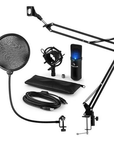 Auna MIC-900B-LED, USB MIKROFONNÍ SADA V4, ČERNÁ, kondenzátorové mikrofony, POP FILTER, mikrofonní rameno, LED