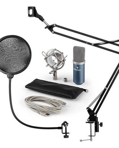 Auna MIC-900BL, USB MIKROFONNÍ SADA V4, MODRÁ, kondenzátorové mikrofony, POP FILTER, mikrofonní rameno