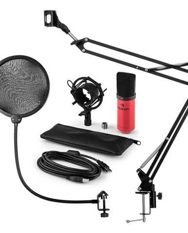 Auna MIC-900RD, USB MIKROFONNÍ SADA V4, ČERVENÁ, kondenzátorové mikrofony, POP FILTER, mikrofonní rameno