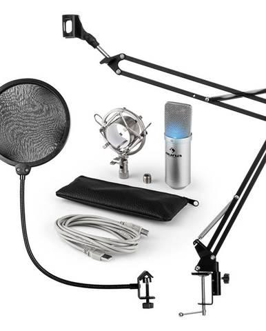 Auna MIC-900S-LED, USB MIKROFONNÍ SADA V4, STŘÍBRNÁ, kondenzátorové mikrofony, POP FILTER, mikrofonní rameno, LED