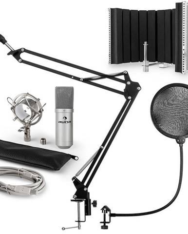Auna MIC-900S, USB MIKROFONNÍ SADA V5, STŘÍBRNÁ, kondenzátorové mikrofony, POP FILTER, AKUSTICKÁ CLONA, mikrofonní rameno