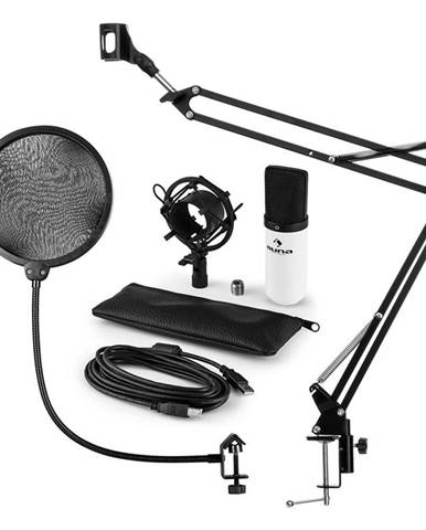 Auna MIC-900WH, USB MIKROFONNÍ SADA V4, BÍLÁ, kondenzátorové mikrofony, POP FILTER, mikrofonní rameno
