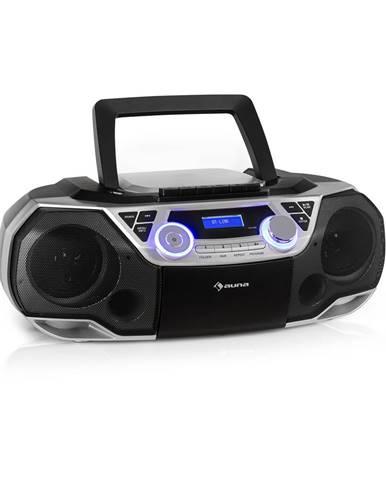 Auna Roadie 2K, boombox, CD přehrávač, kazetové rádio, DAB/DAB+, UKW, bluetooth, stříbrný