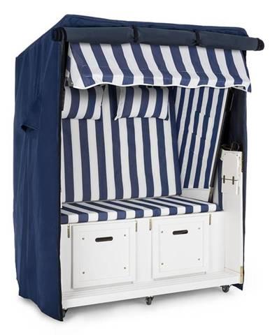 Blumfeldt Hiddensee, plážové sezení, dvousedadlo, borovice, ochranný plášť, pozemní kolečka, modré/bílé, pruhovaný motiv