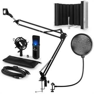 Auna MIC-900B -LED, USB MIKROFONNÍ SADA V5, ČERNÁ, kondenzátorové mikrofony, POP FILTER, AKUSTICKÁ CLONA, mikrofonní rameno