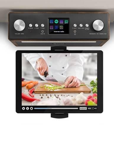"""Auna Connect Soundchef, kuchyňské rádio s držákem na tablet, set, DAB +, FM, 2x3 """", ořech"""