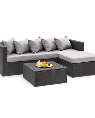 Blumfeldt Theia Lounge set zahradní sedací souprava, černá / světle šedá