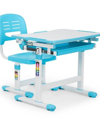 OneConcept Tommi dětský psací stůl, dvoudílná sada, stůl, židle, výškově nastavitelné, modrá