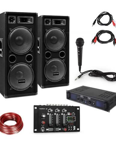 Skytec SPL700EQ zesilovač + 2 x reproduktor, BT mixážní pult, mikrofon
