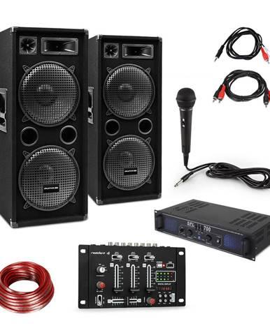 Skytec SPL700EQ zesilovač + 2 x reproduktor, mixážní pult, mikrofon