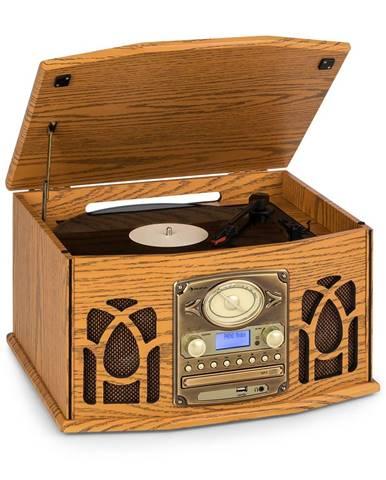 Auna NR-620, DAB, stereo systém, dřevo, gramofon, DAB +, přehrávač CD, hnědý