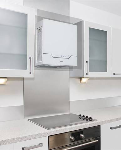 Klarstein Karree digestoř 60 cm 640 m³ / h LED ušlechtilá ocel, sklo, bílá barva