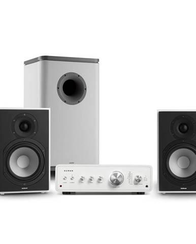 Numan Drive 802, stereo sada, stereo zesilovač, regálový reproduktor, subwoofer, bílá