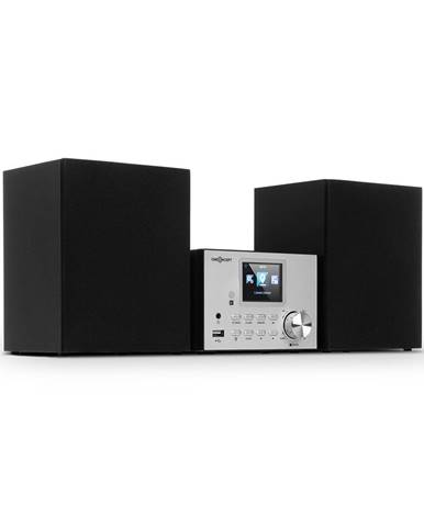 OneConcept Streamo, stereo systém s internetovým rádiem, WLAN, DAB+, FM, CD přehrávač, BT, stříbrný