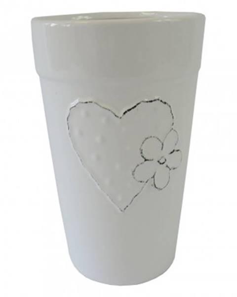 StarDeco Keramická váza vk42 bílá se srdíčkem a kytičkou