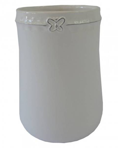 StarDeco Keramická váza vk51 bílá s motýlkem